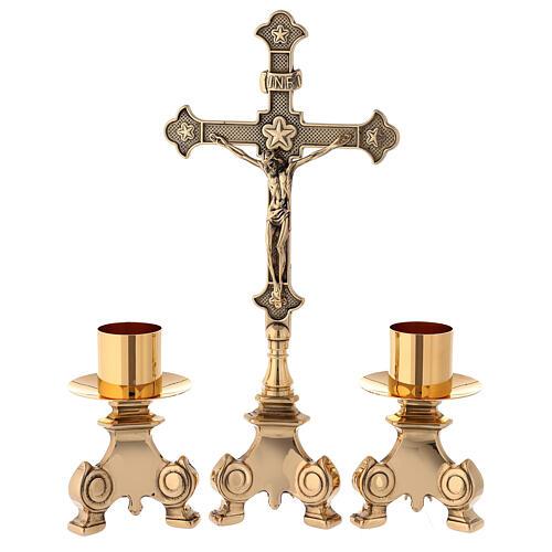 Croce da altare con candelieri ottone dorato 35 cm 1
