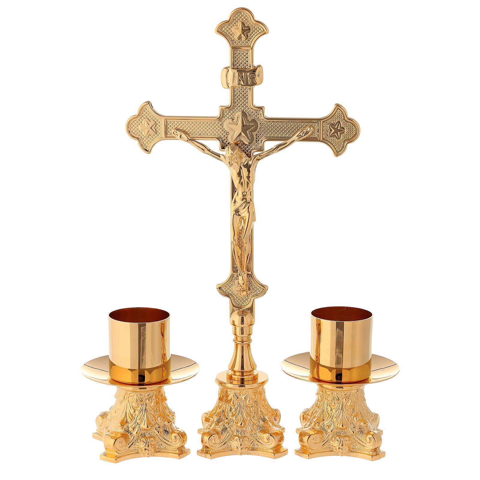 Candeleros y cruz de altar latón dorado 24k 30 cm 4