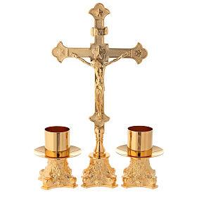 Candeleros y cruz de altar latón dorado 24k 30 cm s1