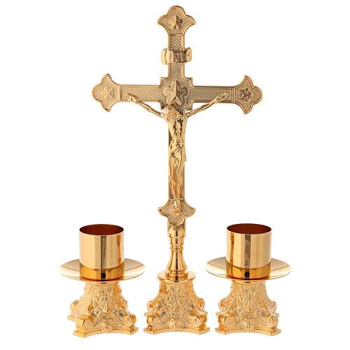 Candeleros y cruz de altar latón dorado 24k 30 cm 1