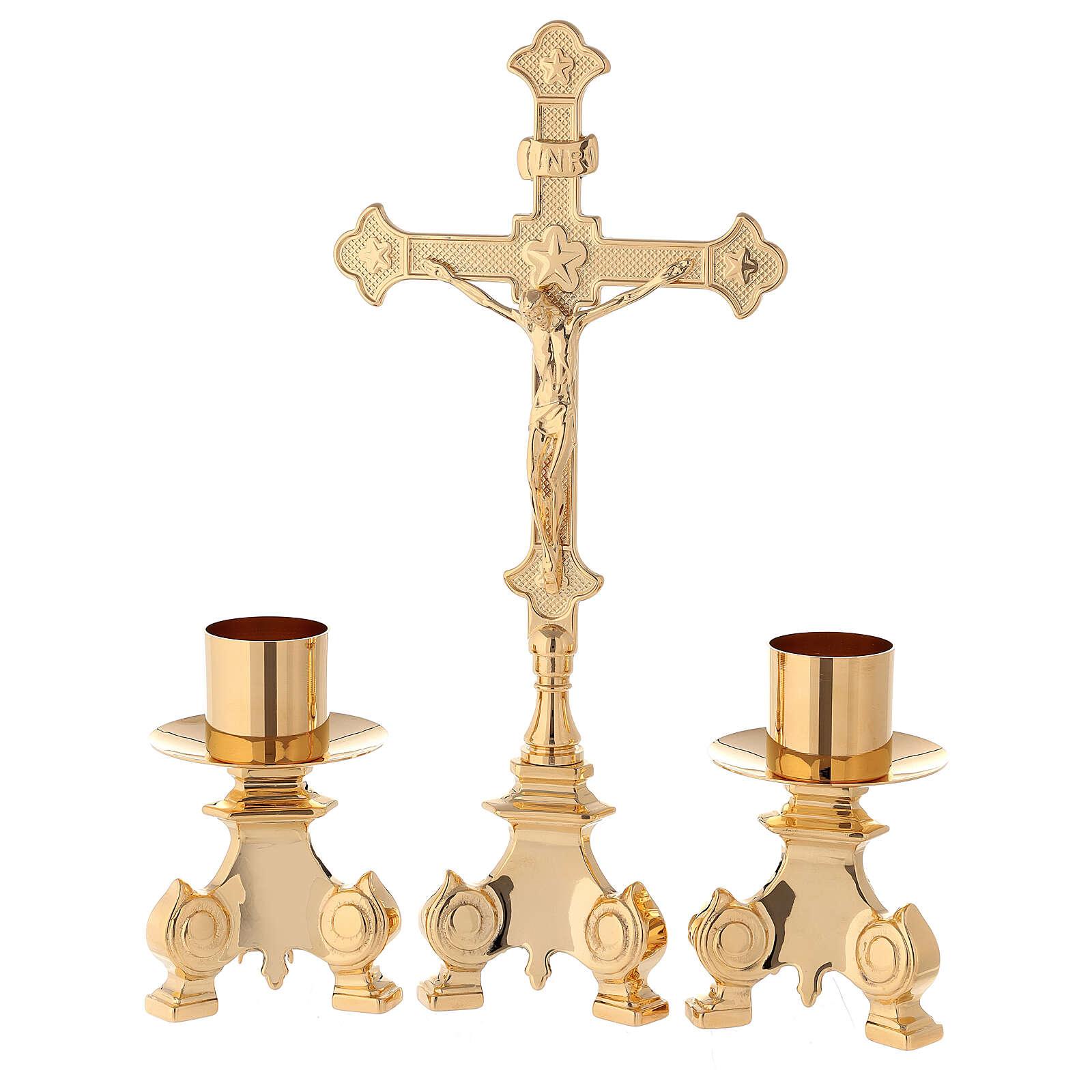 Completo altar cruz y candeleros latón 35 cm 4
