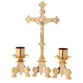 Completo altar cruz y candeleros latón 35 cm s1