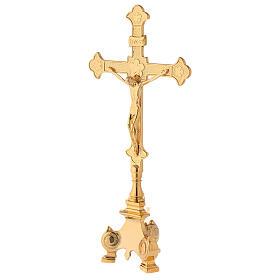 Completo altar cruz y candeleros latón 35 cm s2