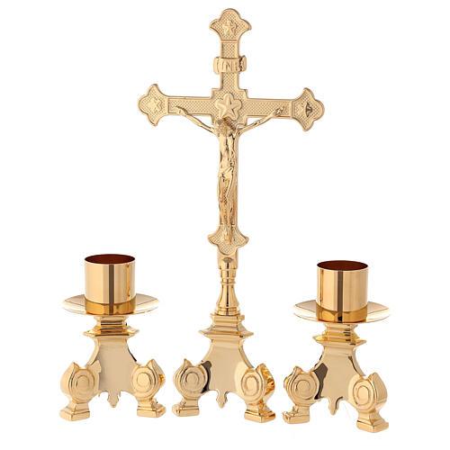 Completo altar cruz y candeleros latón 35 cm 1