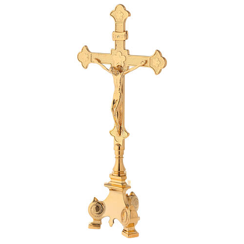 Completo altar cruz y candeleros latón 35 cm 2