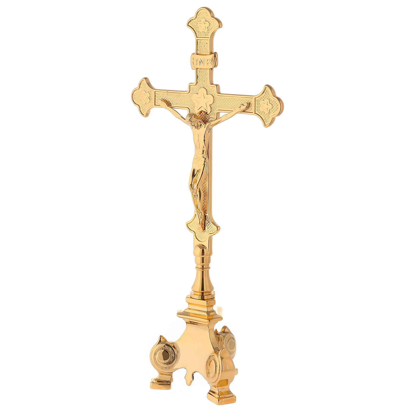 Completo altare croce e candelieri ottone 35 cm 4