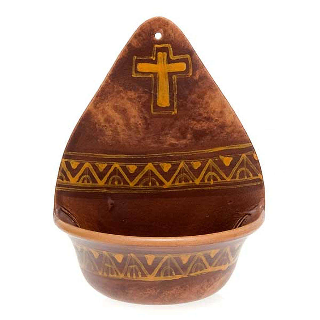 Weihwasserbecken dekorierte Kreuz Keramik 4