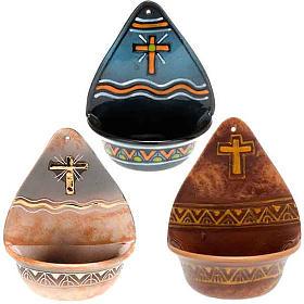 Weihwasserbecken: Weihwasserbecken dekorierte Kreuz Keramik