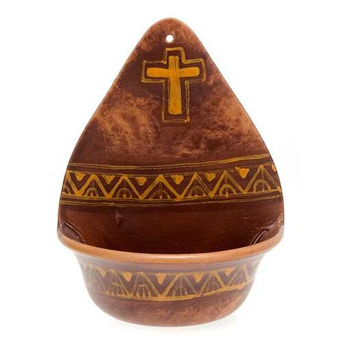 Weihwasserbecken dekorierte Kreuz Keramik 3