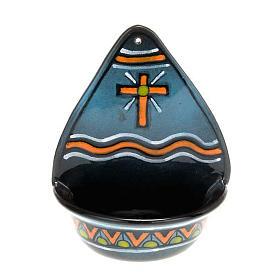 Acquasantiera  decoro croce ceramica s2