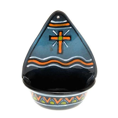 Acquasantiera  decoro croce ceramica 2