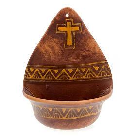 Pia água benta decoro cruz cerâmica s3