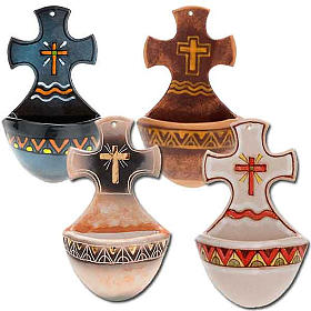 Acquasantiera croce ceramica s1