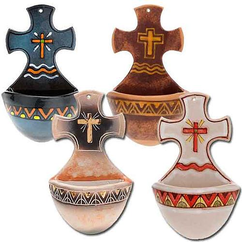 Acquasantiera croce ceramica 1