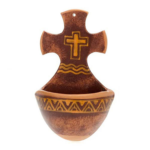 Acquasantiera croce ceramica 4