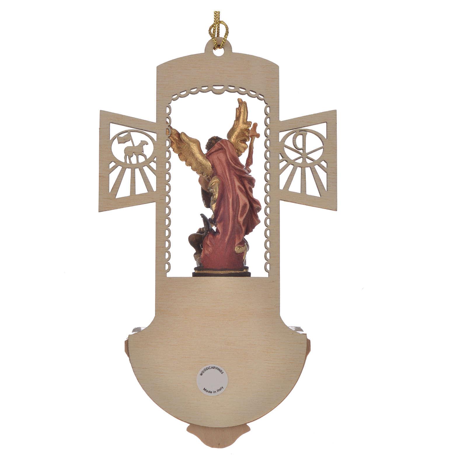 Acquasantiera legno intagliato San Michele dipinto 4