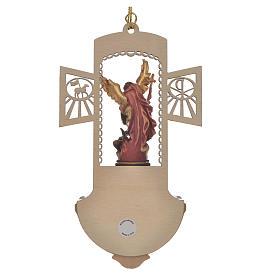 Acquasantiera legno intagliato San Michele dipinto s4