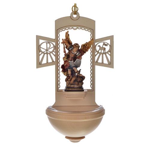 Acquasantiera legno intagliato San Michele dipinto 1