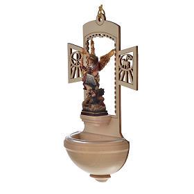 Kropielnica drewno nacięte Święty Michał malowany s3