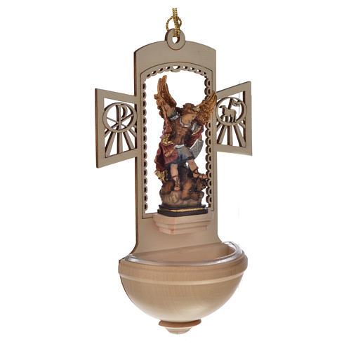 Kropielnica drewno nacięte Święty Michał malowany 2