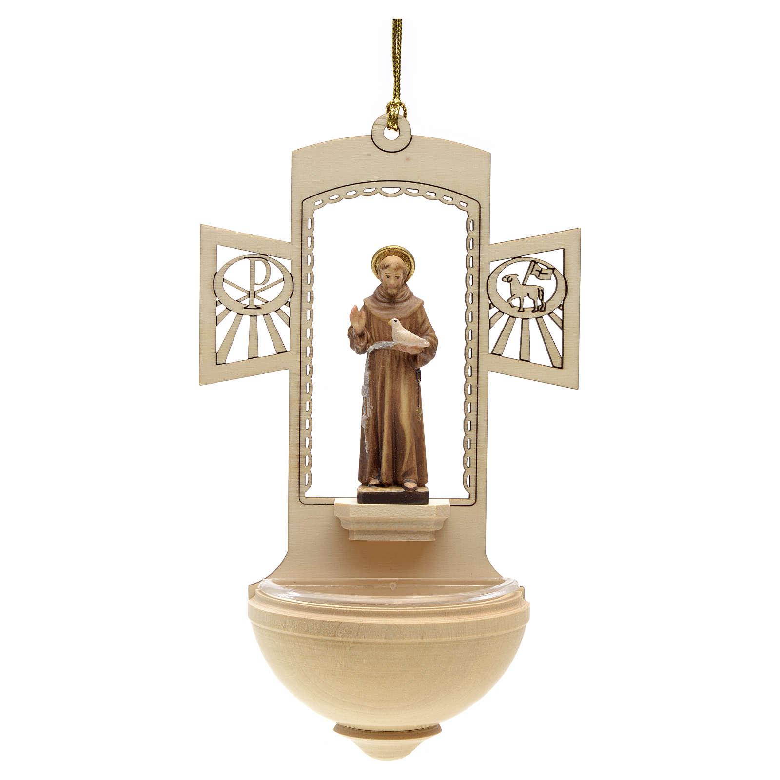 Acquasantiera legno San Francesco d'Assisi dipinta 4