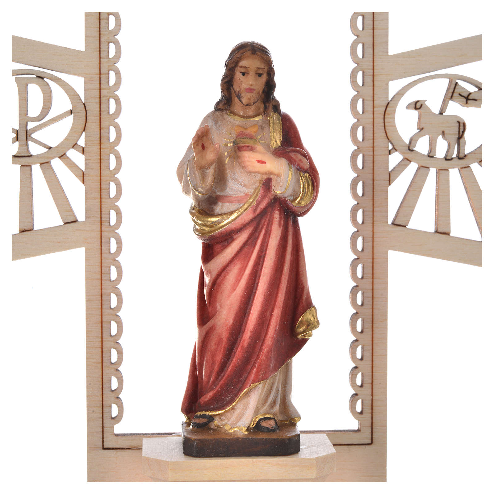 Holy Water font in painted wood, Sacred Heart of Jesus 4