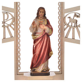 Holy Water font in painted wood, Sacred Heart of Jesus s2