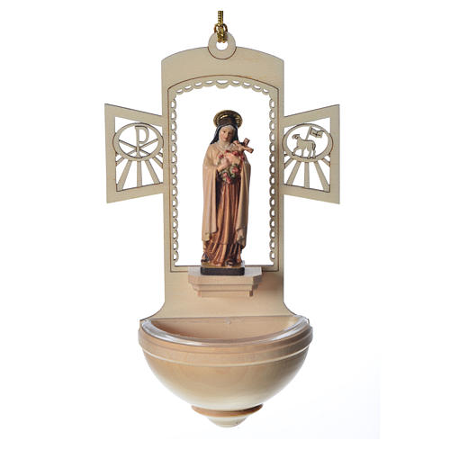 Acquasantiera Santa Teresa di Lisieux legno 1