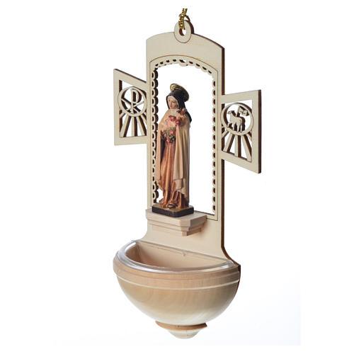 Acquasantiera Santa Teresa di Lisieux legno 2