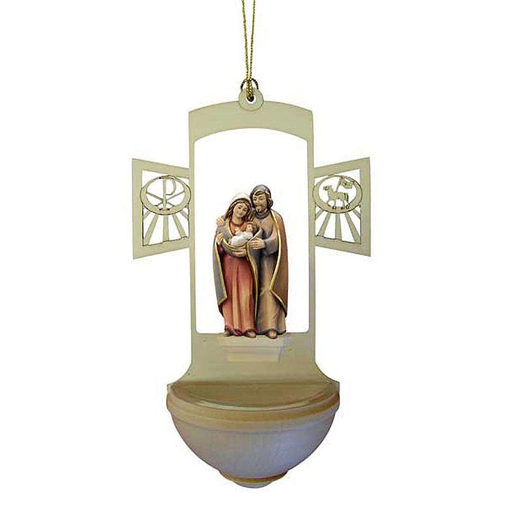 Acquasantiera Sacra Famiglia legno intagliato 4