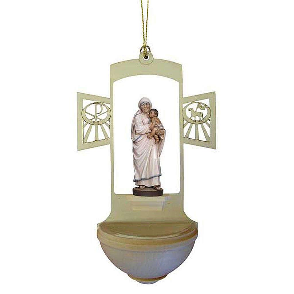 Acquasantiera Madre Teresa legno intagliato 4