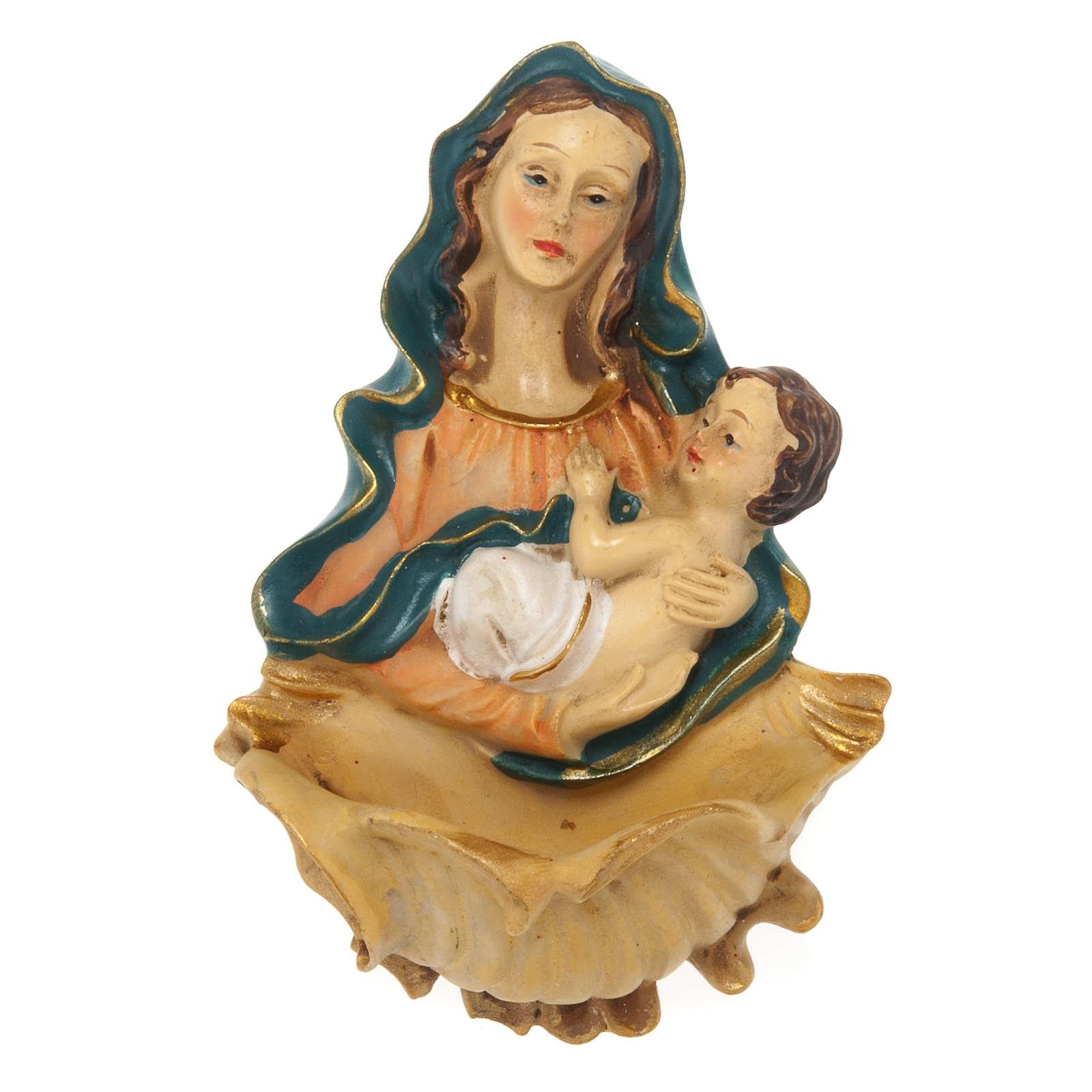 Acquasantiera resina Madonna con bambino 4
