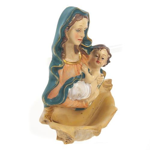 Acquasantiera resina Madonna con bambino 2