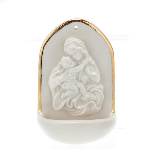 Acquasantiera porcellana bianca Madonna con bimbo 1
