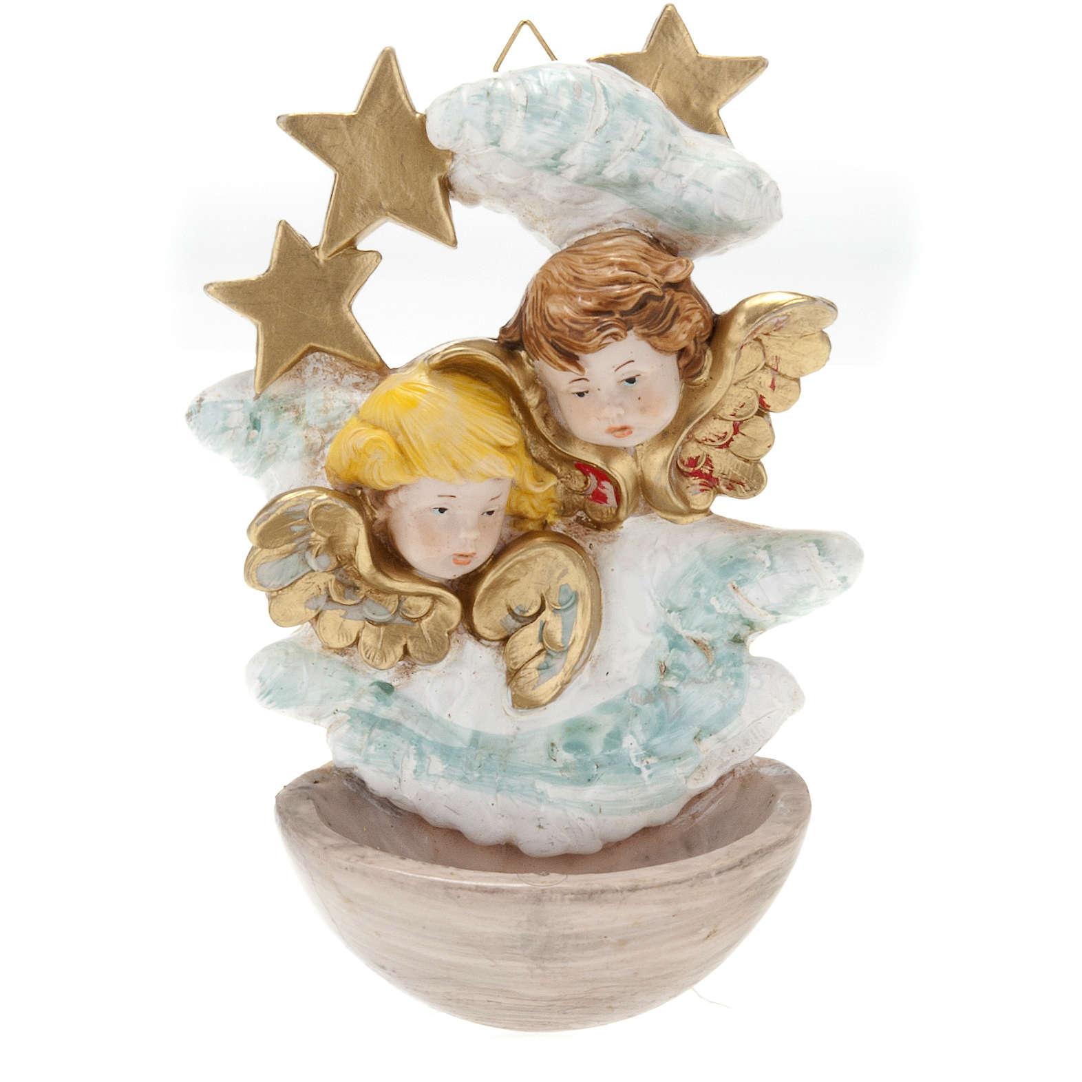 Pila de agua bendita angelitos con estrellas plástico Fontanini 4