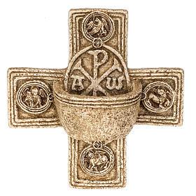 Pila de agua bendita forma cruz de piedra Bethléem s1