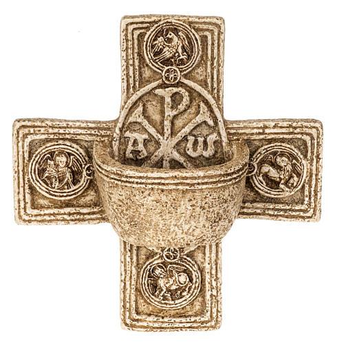 Pila de agua bendita forma cruz de piedra Bethléem 1