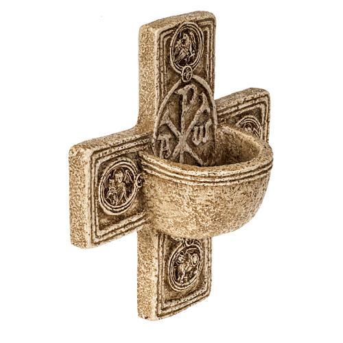 Pila de agua bendita forma cruz de piedra Bethléem 2