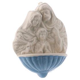 Acquasantiera Maria S.Giuseppe Gesù Bambino ceramica Deruta 10x10x5 cm  s2
