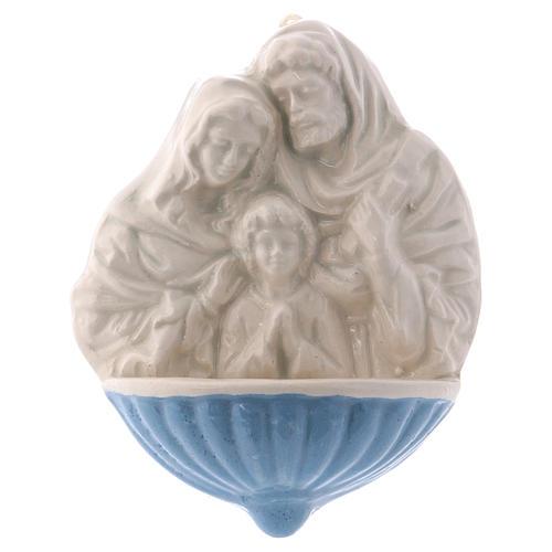 Acquasantiera Maria S.Giuseppe Gesù Bambino ceramica Deruta 10x10x5 cm  1