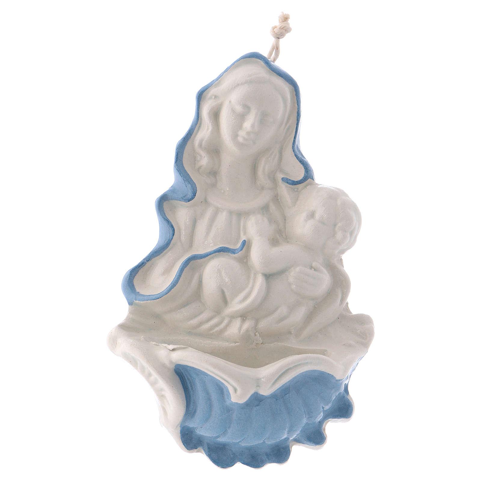 Bénitier Marie Enfant Jésus céramique Deruta 10x5x5 cm 4