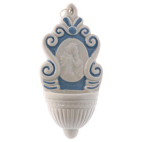 Acquasantiera ceramica Deruta tipo fontana iconcina Maria e Bambino 10x5x1 cm  s1