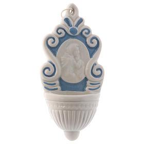 Pia água benta cerâmica Deruta tipo fontanário ícone Marie e Menino Jesus 10x5x1 cm s1