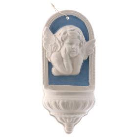 Bénitier ange blanc fond bleu céramique Deruta 10x5x5 cm s4