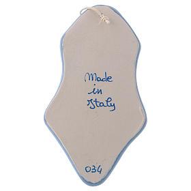 Acquasantiera angioletto bianco sfondo azzurro ceramica Deruta 10x5x5 cm s3