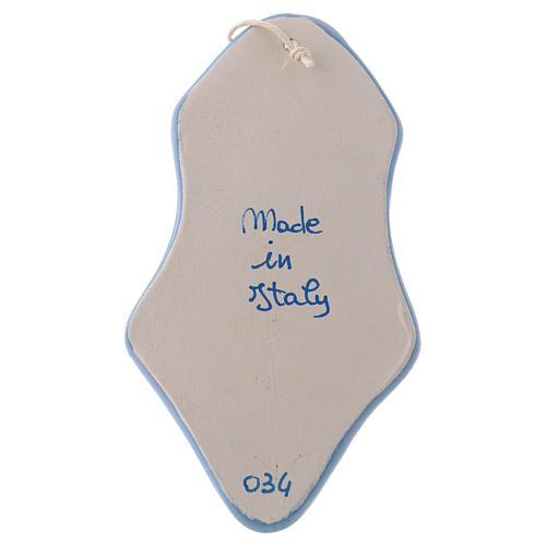 Acquasantiera angioletto bianco sfondo azzurro ceramica Deruta 10x5x5 cm 3