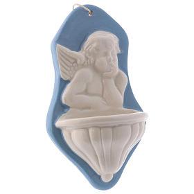 Bénitier buste ange fond bleu céramique Deruta 15x10x5 cm s2