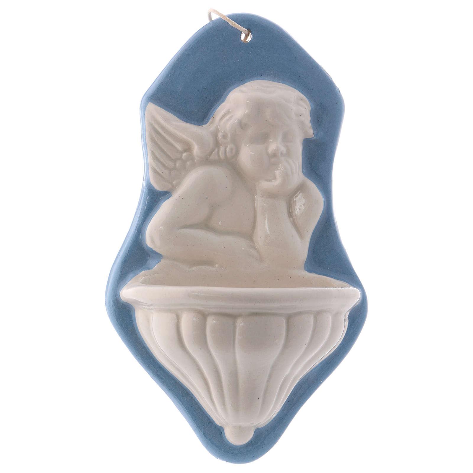 Pia água benta busto anjo fundo azul cerâmica Deruta 15x10x5 cm 4