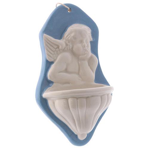 Pia água benta busto anjo fundo azul cerâmica Deruta 15x10x5 cm 2
