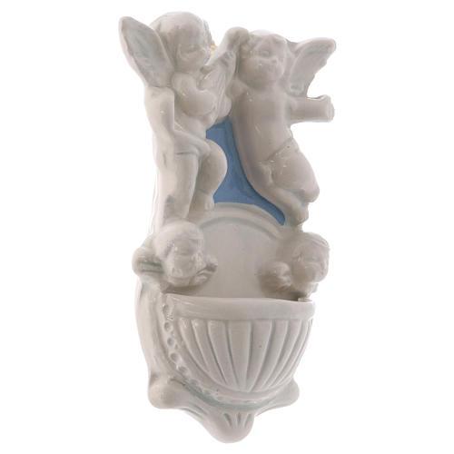 Pila dos angelitos dos caras ángel fondo azul 12x7x3 cm 2